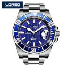 2017 nouveau design loreo montres en acier marque automatique montre mécanique hommes diver montres 200 m étanche auto date montre lumineuse
