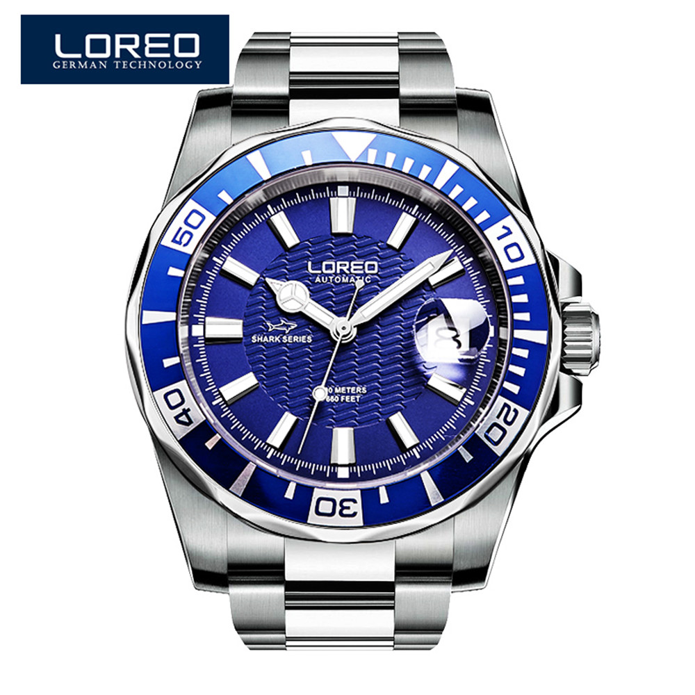 2017 nouveau Design LOREO montres en acier marque automatique mécanique montre hommes plongeur montres 200 M étanche Auto Date montre lumineuse