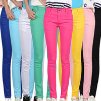 2016 High Waist Jeans Women Summer Style Casual Candy Color Pencil Legging Skinny Pants Trousers Jeans