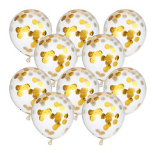 10 Pieces 12 Inch Confetti Balloons Gold Circle Filled Latex Clear Party Balloon  Wedding & Engagement