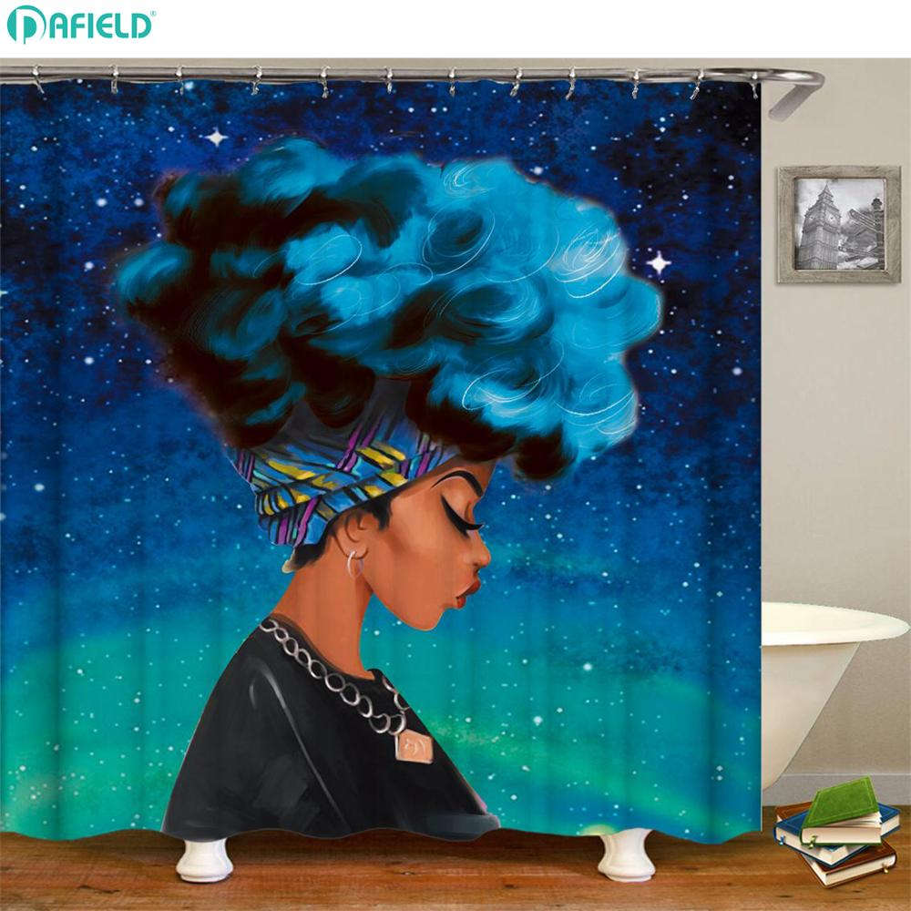 Dafield African Shower Curtain Black Girl With Blue Hair -2462