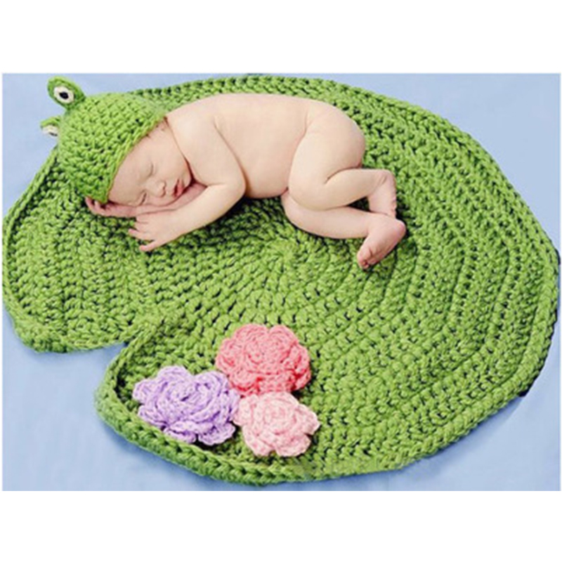 2017 Baby Hat краны Frog Bonnet Baby Blanket 0-6 Months Қолмен жұмыс істейтін Knit Soft Crochet Bonnet Жаңа туған фотосуреттер Жабдықтар Caps