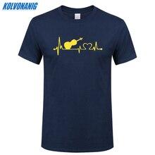 2019 Summer Mens Clothing Brand Violin Heartbeat Funny Print T Shirt Cotton Short Sleeved O-Neck Men Music T-Shirt Plus Size
