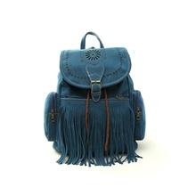 Tassel Women Girl String Backpack Bag Retro Engraving and Fringe Design Women's Vintage Satchel Cute Personality 5 Colors -47