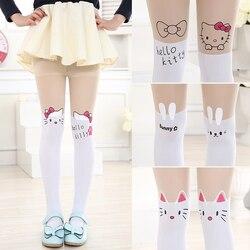 Лидер продаж; колготки для девочек с героями мультфильмов; Милые бархатные чулки «Hello Kitty»; детские колготки для танцев в стиле пэчворк