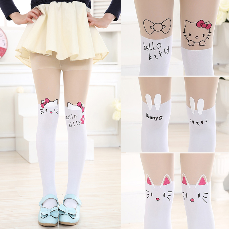Cute Cartoon Designs Girls Tights Lovely Hello Kitty Velvet Stockings for Girls Cartoon Patchwork Dancing Kids Tight