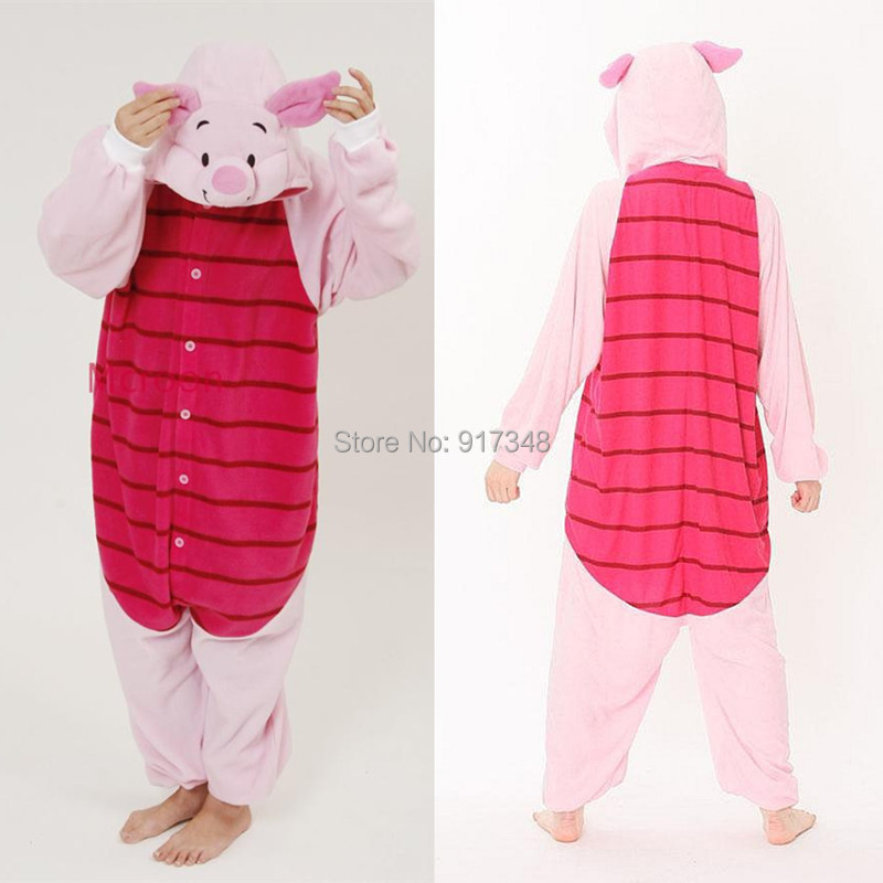 Cartoon Animal Cosplay Kigurumi Piglet Pig Onesies Pyjamas Jumpsuit Hoodies Vuxna Cos Kostym för Halloween och Karneval