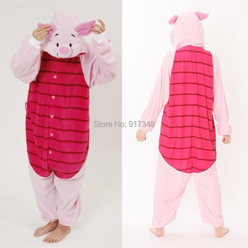 Cartoon font b Animal b font Cosplay Kigurumi Piglet Pig Onesies Pajamas Jumpsuit Hoodies Adults Cos