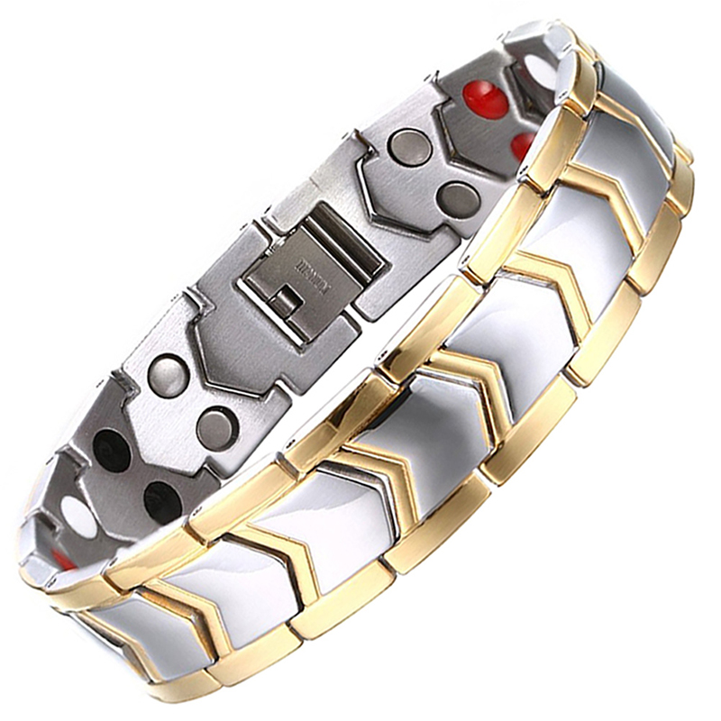 Drop-Shipping Healthy Stainless Steel Magnetic Therapy Bracelet Men Jewelry New Fashion Bio Energy Magnet Bracelets & Bangles