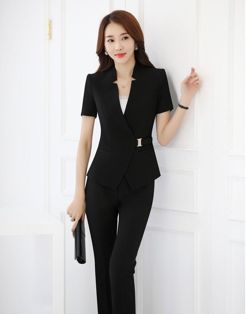 US $37.53 10% di SCONTO|Summer Fashion Nero Blazer Donne Affari Dei Vestiti con Pantaloni e Giacca Imposta Signore Ufficio Uniforme Progetta Tailleur