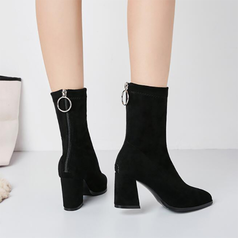 TINGHON Autumn Winter Shoes thick heel high boots Women Back Zipper Metal  Ring slip on Round Toe Knitted Sock Boots-in Ankle Boots from Shoes on ... 0dd1d5ac0683