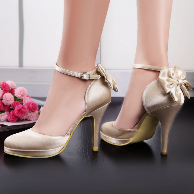 Champagne Elegant AJ091-PF Round Toe Shoes Ankle Strap Bow Platform 4