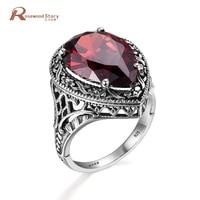Luxury Red Crystal Zircon Nhẫn Tuyên Bố New 925 Sterling Silver Vintage Trang Sức Big Rhinestone Best Friend Infinity Nhẫn