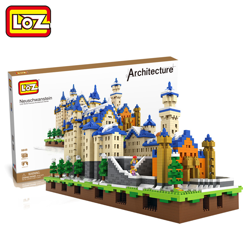 LOZ Diamond Blocks Neuschwanstein Castle Architecture Toys 3D Model DIY New Swan Stone Castle Block Building Educational Bricks loz diamond blocks figuras classic anime figures toys captain football player blocks i block fun toys ideas nano bricks 9548