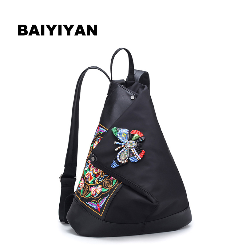 New Ethnic Backpack Women Handmade Flower Embroidered Travel Bags Schoolbag Backpacks Fashion Nylon Backpack ethnic embroidered black cami dress for women