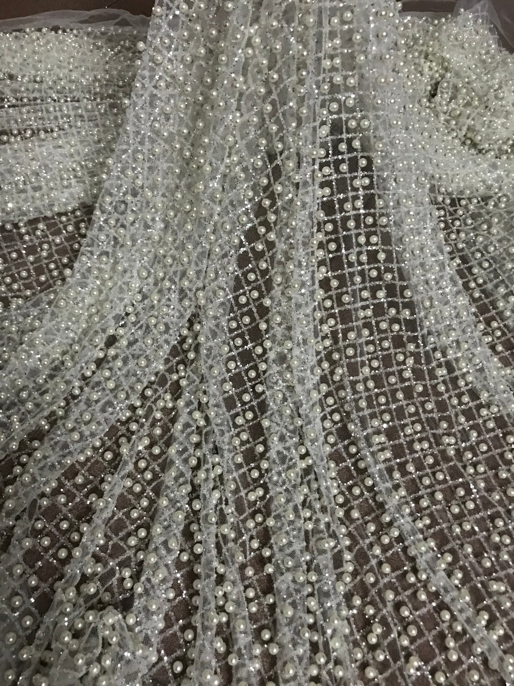5 yards glued glitter lace fabric on sale JIANXI C 82219 glitter mesh material with full