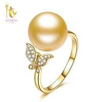NYMPH бренд натуральный Southsea жемчужное кольцо, отличный блеск Настоящее 18 К желтого золота au750 жемчуг Бабочка кольцо для женщин Женский JZ186