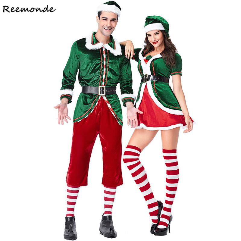 New Year Christmas Cosplay Costumes Santa Claus Deluxe Velvet Red Green Jacket Dresses Hats Belt For Adults Women Men Clothes