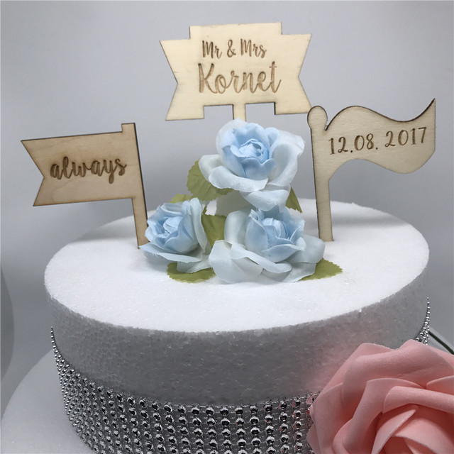 Us 999 Free Shipping 3pcsset Personalised Wooden Flags Cake Topper Bridal Shower Custom Engraved Wooden Banner Wedding Cake Topper In Cake