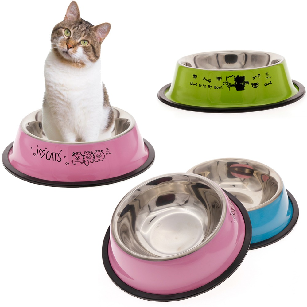 Lovely Pet 3 Colors Stainless Steel Dog Bowl Food Water Drink Dishes Feeder For Cat Puppy Dog #261535 #2
