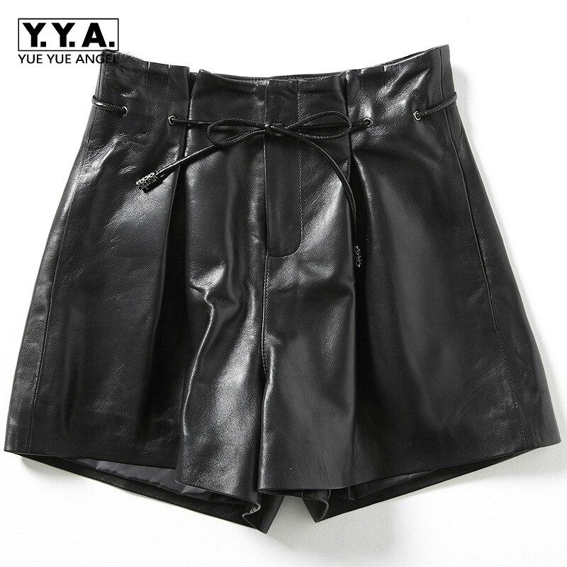Новинка 2019, Модные женские сексуальные черные шорты из натуральной овчины на шнуровке, высококачественные женские прямые шорты, юбки 3XL