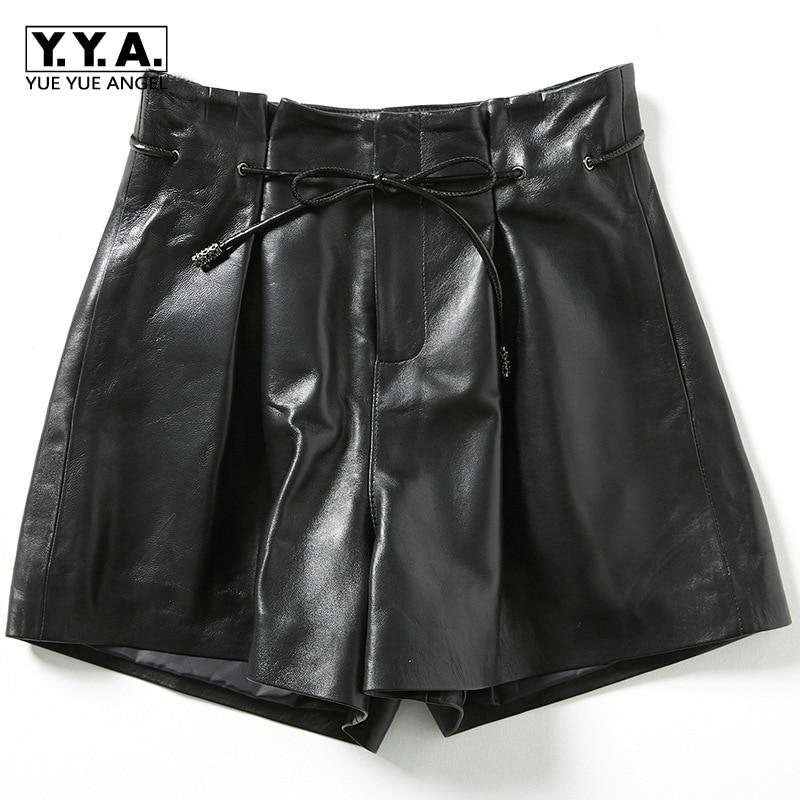 2019 New Fashion Dames Sexy Zwart Lederen Schapenvacht Shorts Lace Up Slanke Hoge Kwaliteit Vrouwelijke Straight Shorts Rokken 3XL
