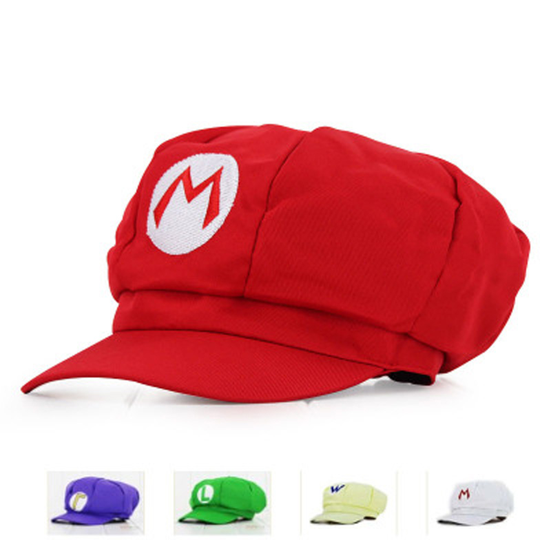 Adults Kids Anime Super Mario Hat Luigi Bros Cosplay Baseball Cap Cos Costume Accessories Halloween Party Cap Gift Wholesale