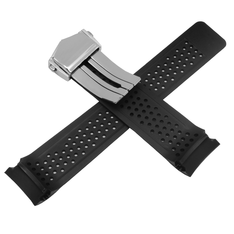 Image 2 - 22mm 24mm Quality silicone watchband black rubber bracelet waterproof men's replacement strap fit TAG-in Watchbands from Watches
