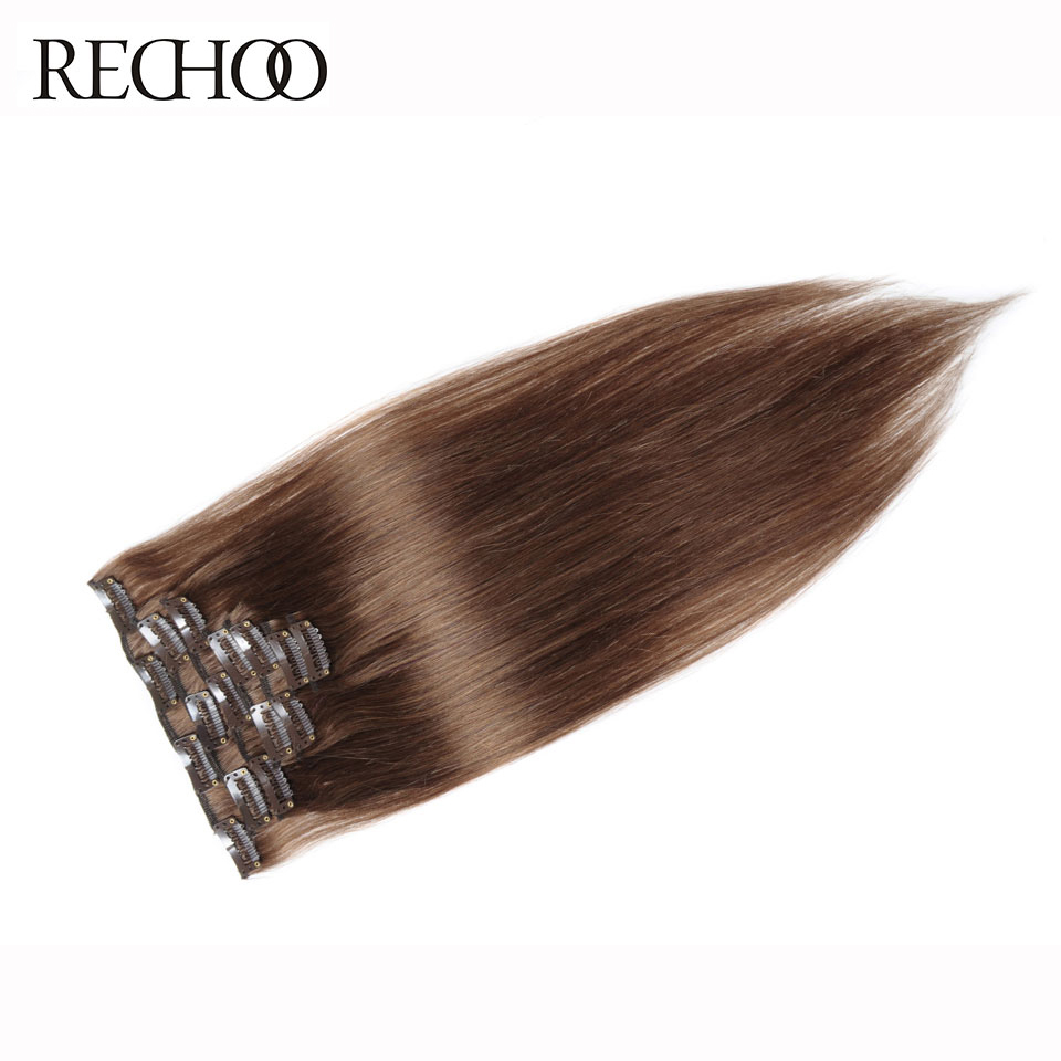 Rechoo # 8 Lysebrun Brasilian Machine Made Remy Rett Klipp I Menneskehår Clip In Extensions 7Pcs / Set 90 Gram Full Head Set