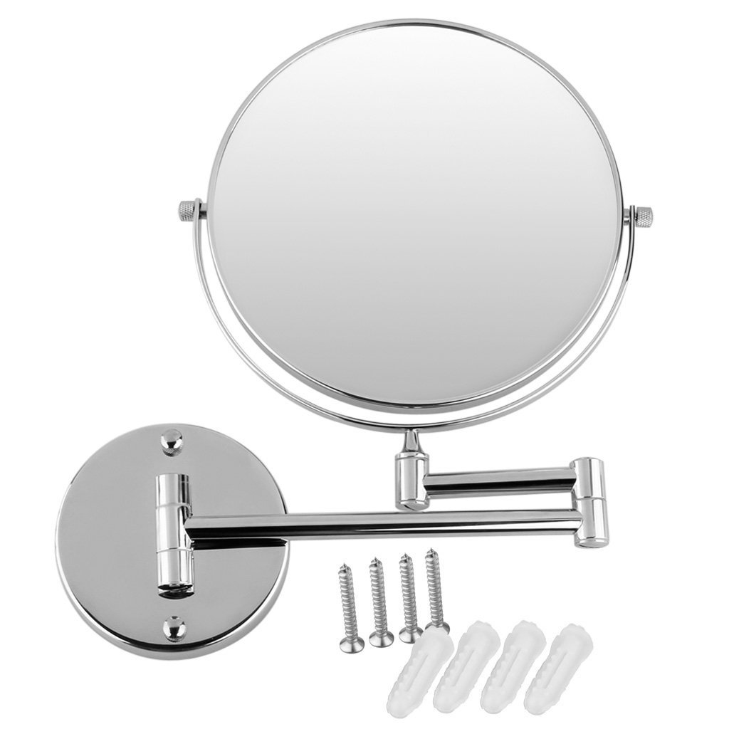 Chrome Round Extending 8 inches cosmetic wall mounted make up mirror ...
