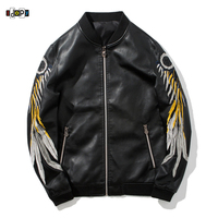 6bf107739faef Idopy Fashion Men s Biker PU Leather Jackets Slim Fit Embroidery Feathers  Long Sleeve Black Jacket And