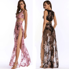 MUXU woman clothes embroidery sequin pink long dress glitter mesh sexy transparent fashionable sundress party elegant dresses