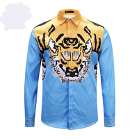 New 19ss Men Digital 3D Tiger Fashion Cotton Casual Shirts Shirt high quality Pocket Long sleeves Top S 2XL #H4