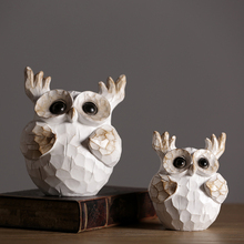 Resin Retro and Nostalgic Owl figurines Creative Nordic decoration home fairy garden miniatures Animal Arts Crafts gifts