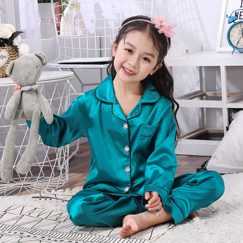 Girls Pajamas 2019 Spring Autumn Long Sleeve Children's Sleepwear Set Silk Pajamas Suit Boys Pyjamas Sets For Kids Tracksuit Set