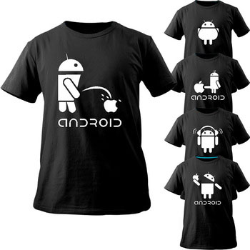 Android T-shirt Kreativa män och kvinnor Rolig T-shirt Nyfty Cool New Original Design Kort T-shirt hipster Style Men Casual Kläder