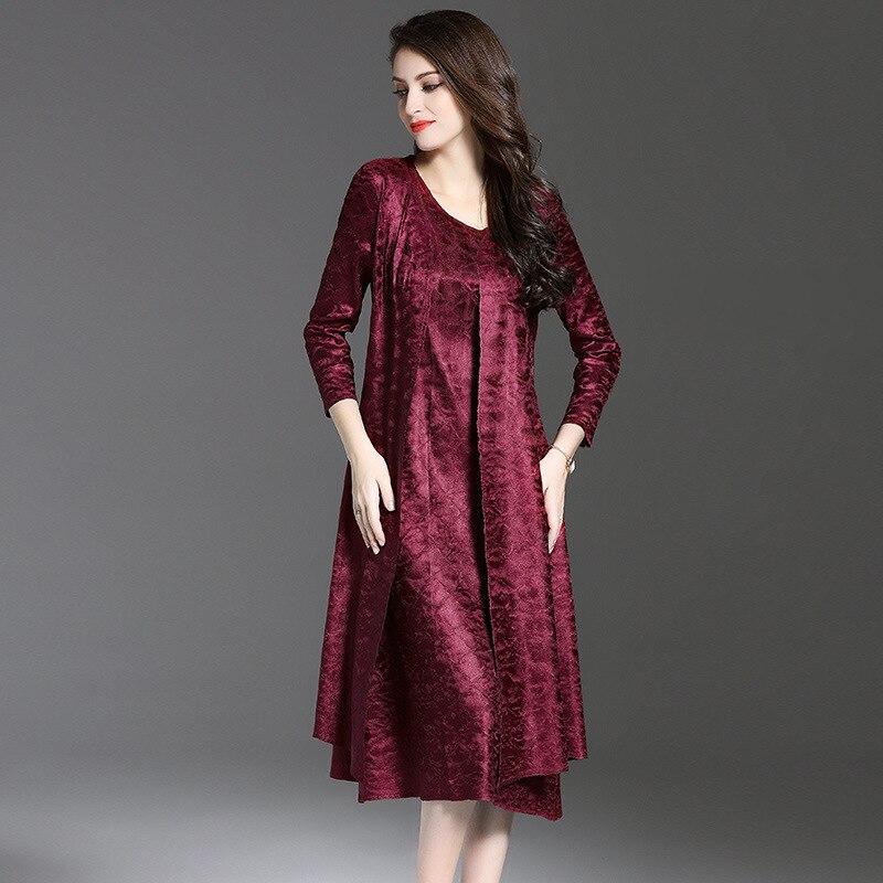 Printemps A bourgogne Pièces Noir 2018 Deux O Femme Genou or Nouvelle ligne Occasionnel cou longueur Pli Robe rouge Fd01q