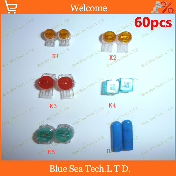 Good quality,60pcs K1/K2/K3/K4/K5/B Wire Connector,6 in 1 network cable terminal block for Telephone telecom Cable