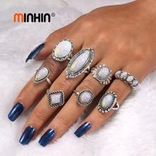 MINHIN Women Boho Geometric Rings Set Party Jewelry New Design Retro Opal Knuckle 8 PCS/Set Silver Ring