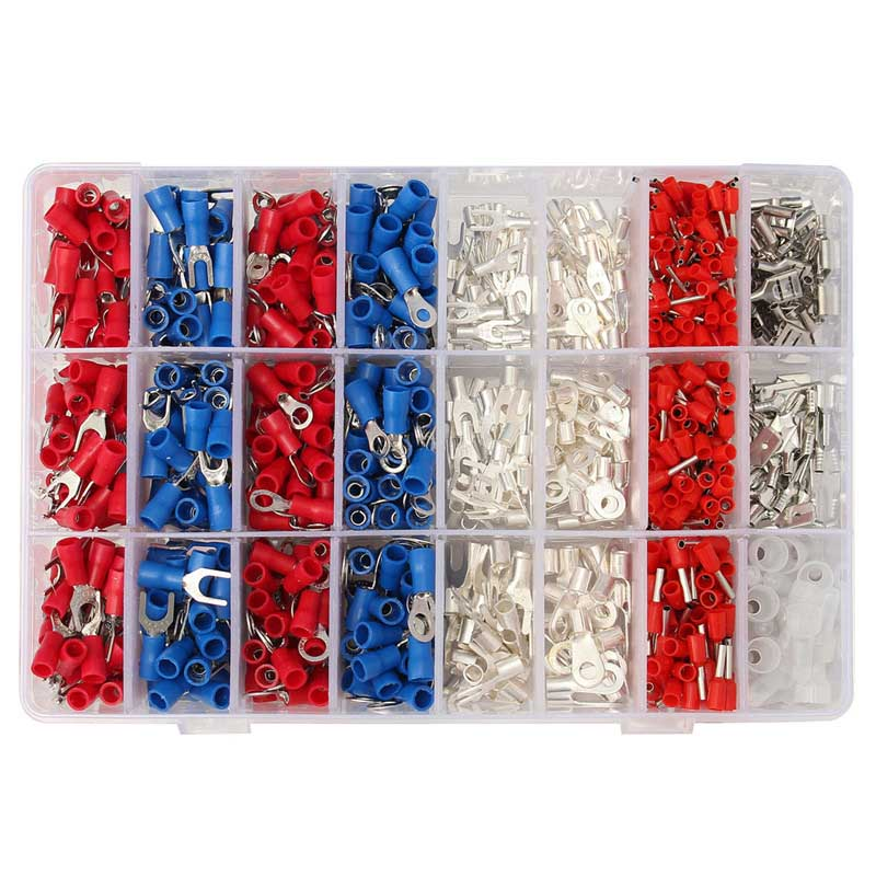 YT 1000Pcs Insulated Crimp Terminals 24Types Kit Electrical Cable Wire Cord Pin End  Connectors Spade Fork Ring Assorted Set wholesal e1008 insulated cable cord end bootlace ferrule terminals tubular wire connector for 1 0mm2 wire 1000pcs