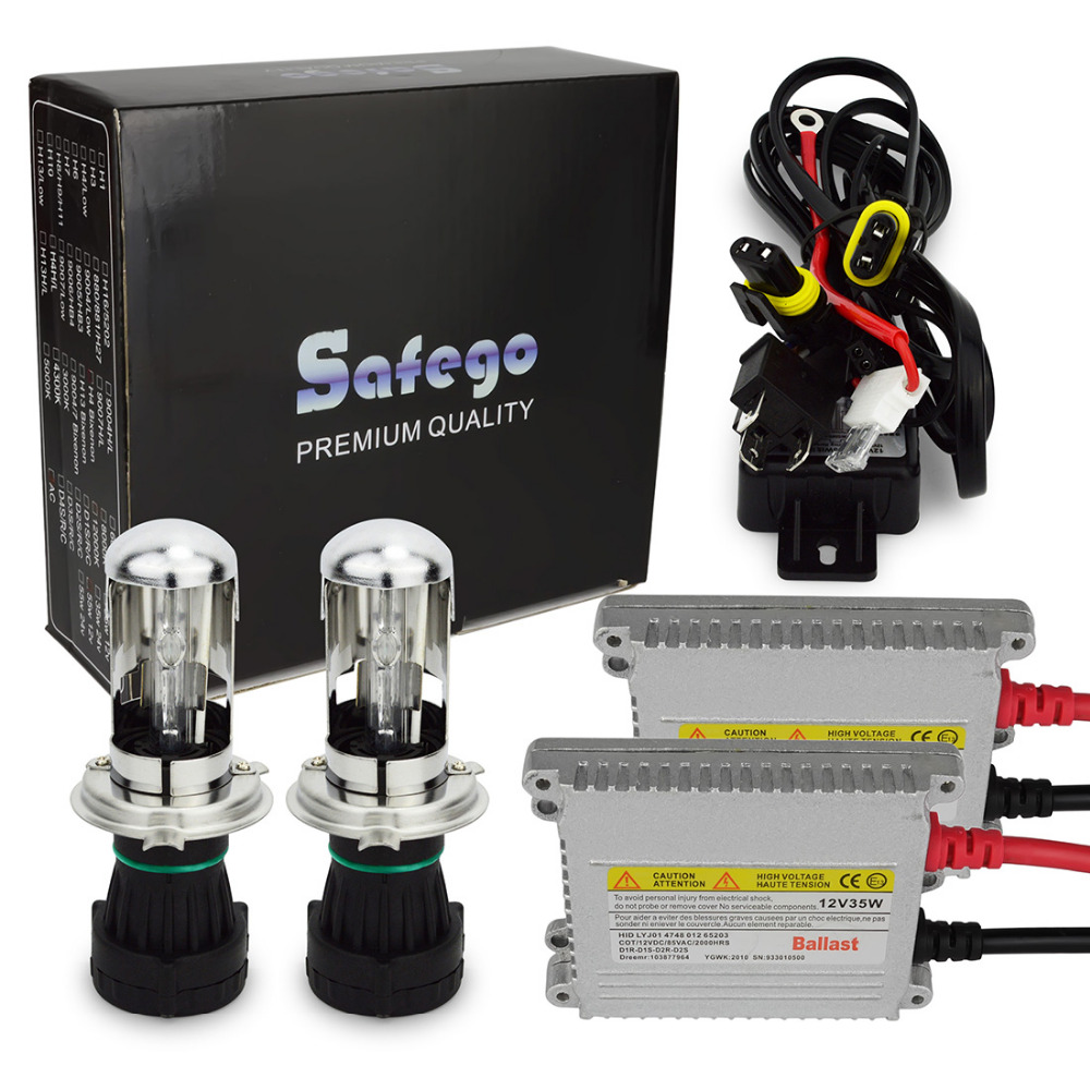 1set DC12V 35W bixenon kit h4 bixenon h4 35w hid kit 35w h13 9004 9007 hi lo beam bi-xenon 6000k 8000k 10000k fsylx 2pc h13 hid relay harness hi lo xenon kit h13 wiring wire 12v auto wire harness connector for h13 xenon hid kit