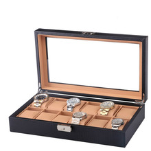 12 часов Дисплей коробка черный углеродное волокно со стеклянными часы в коробке Органайзер дерево ПУ кожа Подушка Роскошный чехол для часов окно