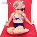Nueva Lindo Bebé del traje de Baño Niñas Arco Franja Niños Cadena de Baño Bikini Trajes de Baño de Alta Cintura Del Traje de Baño Biquini Infantils1-2Years