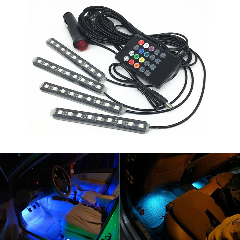 4pcs Car RGB LED Strip Light 16 Colors Car Interior Floor Decorative Lights With Remote Control Atmospher Lamps LED Light Strip