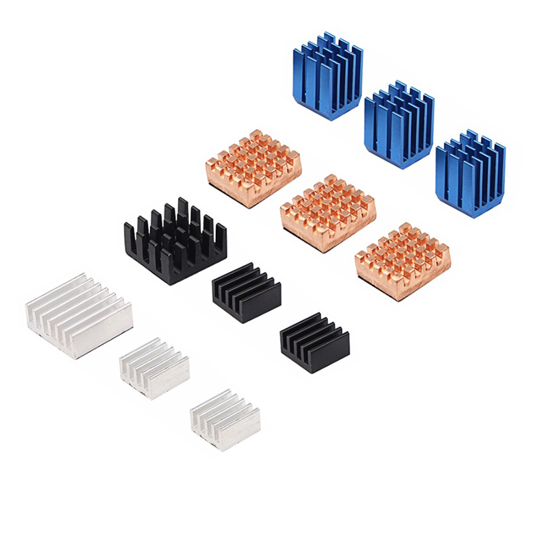 Raspberry Pi 3 Model B+ Heat Sink 12 In 1 Metal Heat Sinks Kit Aluminum Copper CPU WLAN Cooling Pad For Raspberry Pi 3
