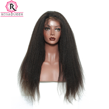 360 Lace Frontal Wig 180% Density Kinky Straight Lace Front Human Hair Wigs Coarse Yaki Pre Plucked Full Ends Rosa Queen Remy