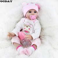 55CM Soft Vinyl Reborn Baby Dolls Handmade Design Cloth Body Silicone Lifelike Alive Babies Doll Toys For Kids Christmas Girls