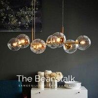 8 головок Nordic чердак Стекло пузыри светодио дный подвесной светильник ужин бар лестничные Обеденная Линдси висячие светильники Бесплатная