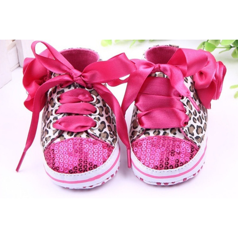 ABWE Best Sale New Infant Toddler Leopard Sequins Sneakers Baby Girls Soft Sole Crib Shoes 9-12 Months 13cm rose red