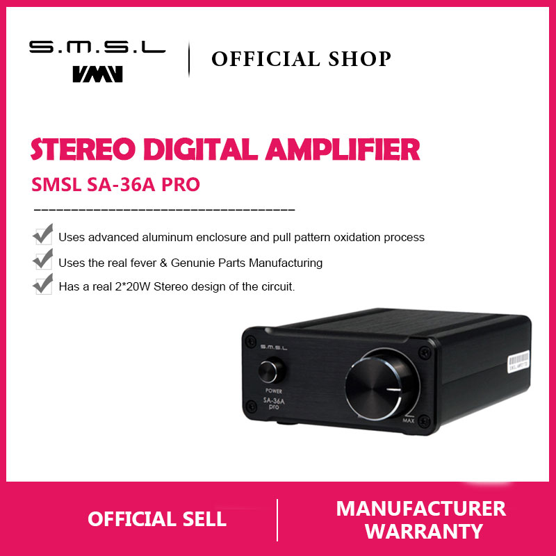 SMSL SA-36A Pro AMP HIFI Big Power Digital Integrated Tripath Stereo Amplifier with 12V 3.8A Power Adaptor Black Silver GoldSMSL SA-36A Pro AMP HIFI Big Power Digital Integrated Tripath Stereo Amplifier with 12V 3.8A Power Adaptor Black Silver Gold